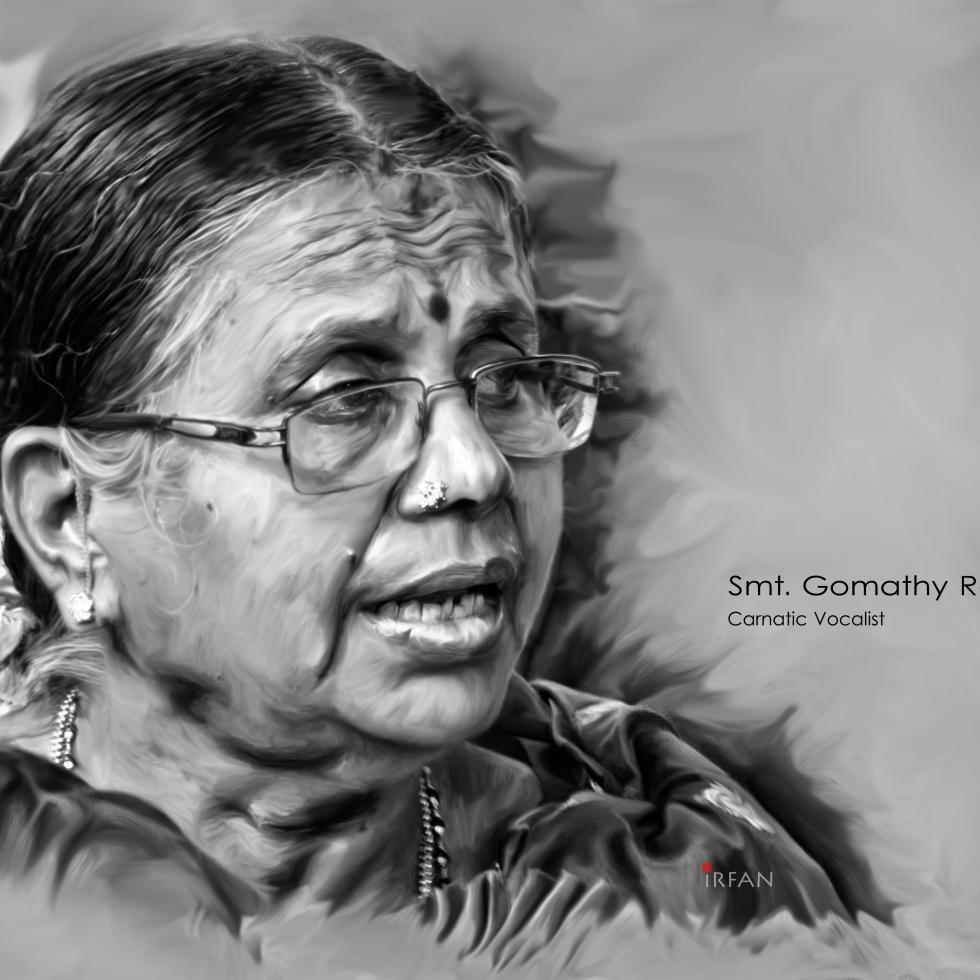 gomathy aunty final portrait painting