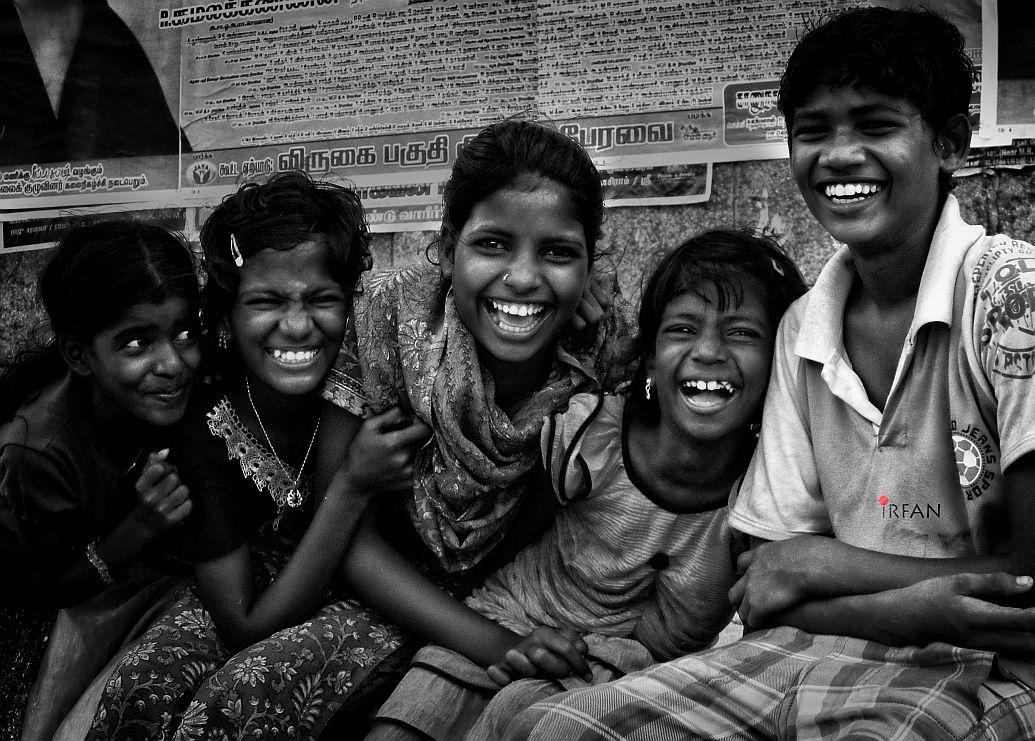 kids, lauging, black and white, portraits, irfan hussain, thereddotman, irfan, hussain
