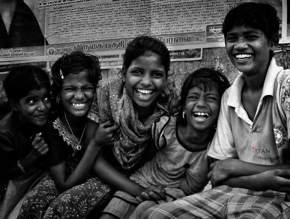 kids, lauging, black and white, portraits, irfan hussain, thereddotman, irfan, hussain