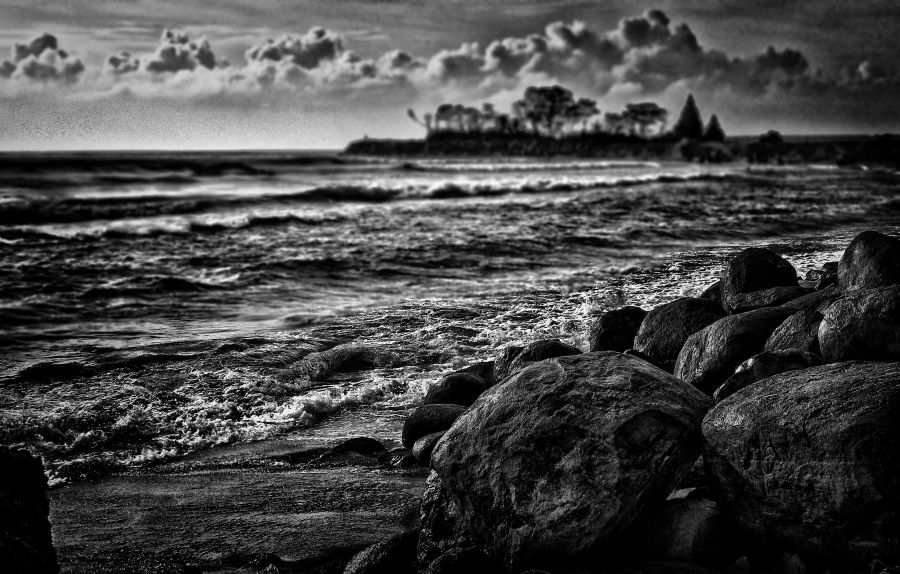 Seashore of the Mahabalipuram beach. That's the Mahabalipuram temple far away in the background. Order a Limited Edition Print of this image,