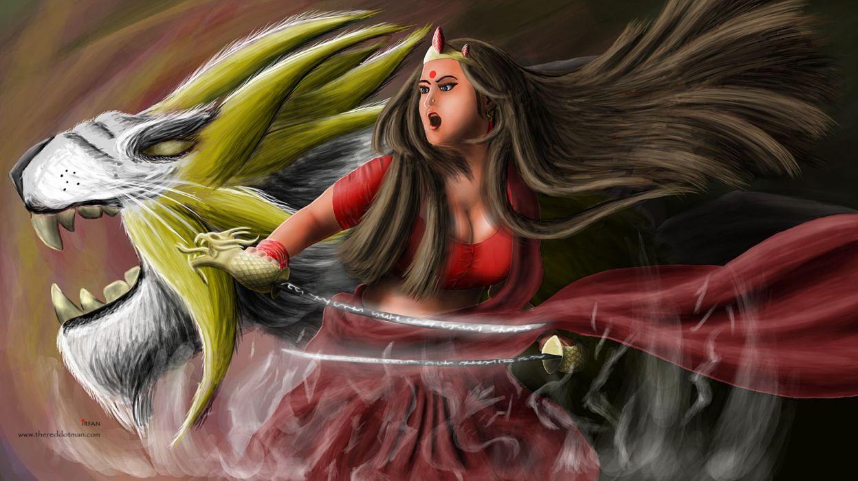 warrior princess wacom tab painting irfan hussain thereddotman digital art wordpress