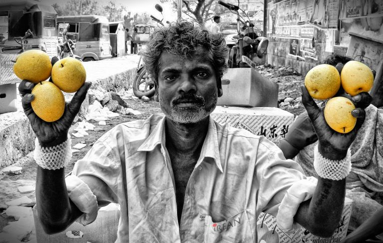 The pear man. He was selling these USA pears.
