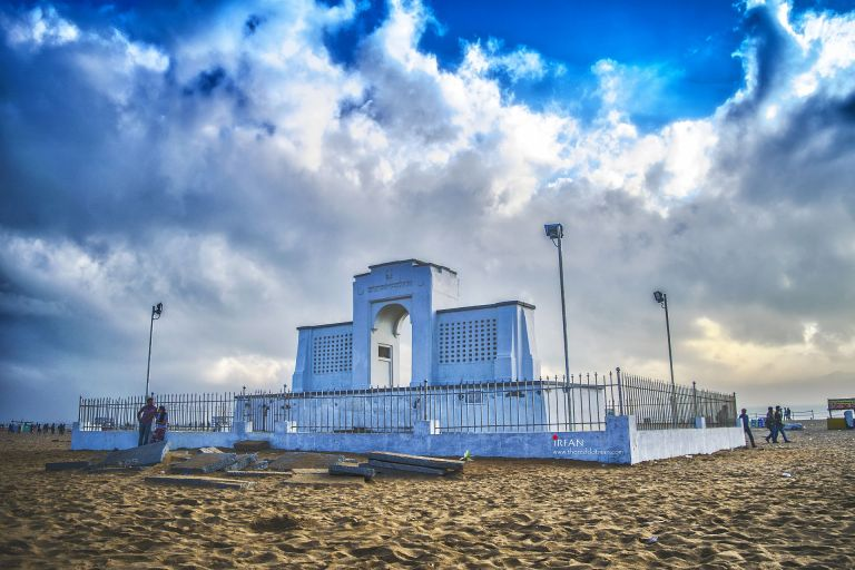 The carl schmidt memorial, standing right in the middle of the shores of besant nagar beach. irfan hussain, thereddotman