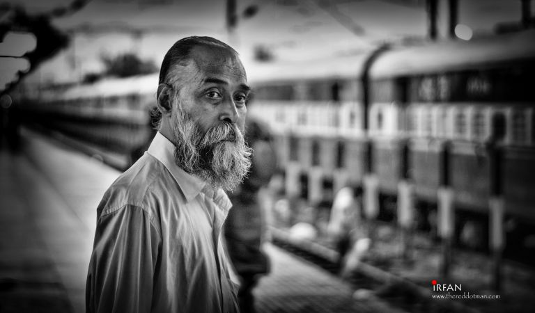 Need something? An old man at the railway station.