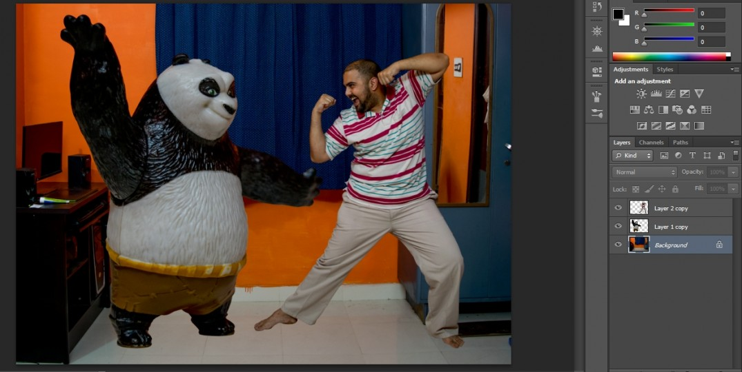 irfan hussain, theredotman, photo manipulation, tutorial, photoshop. kung fu panda, po